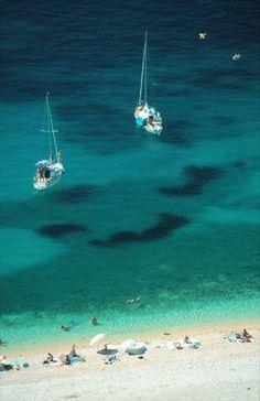 Boats off Krk Island in Croatia on the Adriatic Sea