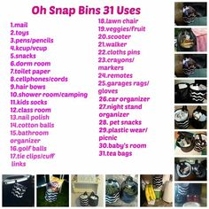 31 uses oh snap bins