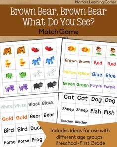Brown Bear, Brown Bear Match Game - Mamas Learning Corner