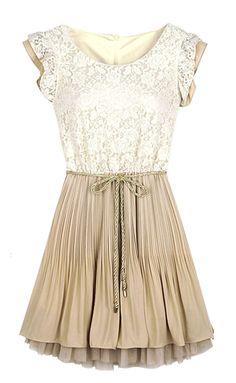 Beige Lace Frill Sleeve Belt Chiffon Pleated Dress