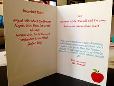 Include important dates and a special message inside welcome back cards.