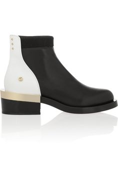 Givenchy|Black and white leather ankle boot with black and gold metal heel