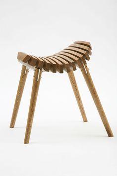 Wood curved stool