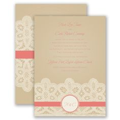 Lace Wedding Invitation - 2-sided, Vintage Antique, Romantic, Initials at Invitations By David's Bridal