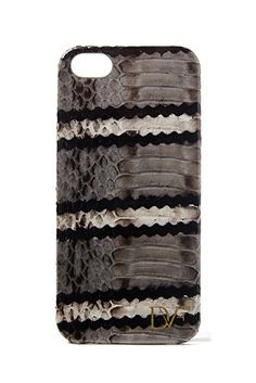 iPhone 5 Striped Snake Leather Case In Flint/ Black/ White