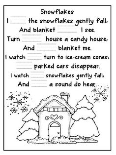 Snowflake poem cloze activity with word cards