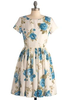 Beauty in the Air Dress in Delphinium - Casual, Vintage Inspired, Blue, Floral, Pleats, A-line, Short Sleeves, Blue, Multi, Green, Spring, Mid-length