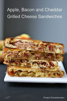 Apple bacon and Cheddar Grilled Cheese Sandwiches with Caramelized Onions. <3