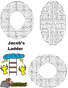 Here is just one of many great craft/activity ideas on this website for Jacob's Ladder to Heaven Bible story.