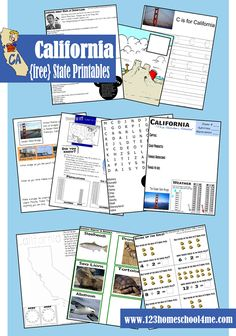 FREE Worksheets for kids 2-10 years old to learn about CALIFORNIA. #homeschool #unitedstates #california #freeprintables