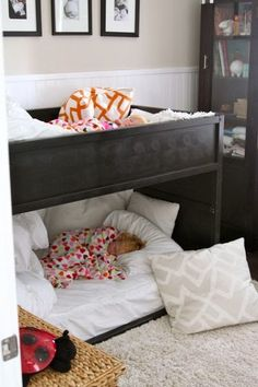 mommo design: KURA BED HACKS. Kinda like how these bunk beds are lower to the ground