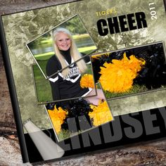 Cheerleader Photo Album / or Scrapbook Custom to by AlbumOptions Love this technique=3 pics to represent 1 pic