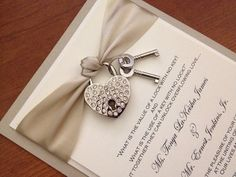 Key to My Heart wedding invitation with heart rhinestone lock and keys in champagne