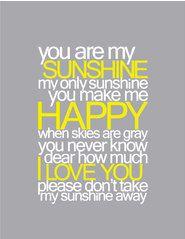 You Are My Sunshine Baby Nursery Printable Wall Art