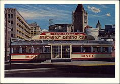 Postcard of Mickeys Diner in St. Paul, Minnesota, by John Baeder, 1978 (oil on canvas)