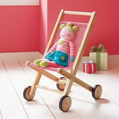 Kids' Doll Toys: Kids Wooden Doll Pram Stroller in Eco-Friendly