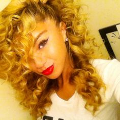Honey blonde curly hair, curly hairstyles.
