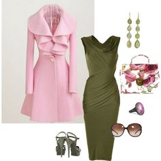 church outfits, color combos, pink jacket outfit, the dress, green dress, mens green fashion, inspired outfits, spring outfits, coat