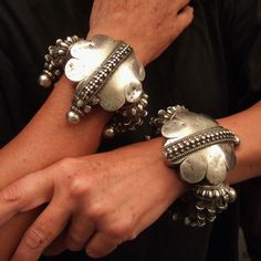 India | Two old beautiful silver bracelets from Gujarat. | ca 1st half 20th century