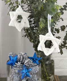 """White Star of David Ornament - This is a free pattern from Red Heart.  And yes, they really call it an """"ornament""""."""