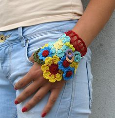 Kovale on Etsy.com-Freeform Floral Crochet Cuff