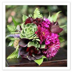 purple calla lily and succulent bouquet