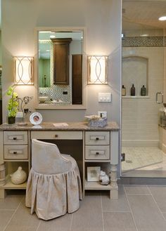 I wish! Beige Makeup Vanity Design, Pictures, Remodel, Decor and Ideas decor, bathroom light, bathroom interior design, makeup vanities, makeup counter, lighting fixtures, bathrooms, wall sconces, table designs