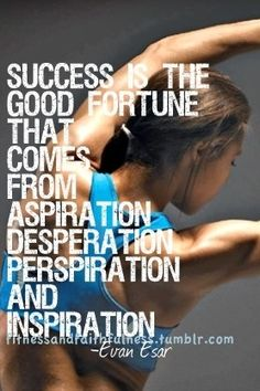 Success is the Good Fortune that Comes From Aspiration, Desperation, Perspiration & Inspiration. #weightlossinspiration #workoutinspiration