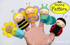 PDF Pattern: Garden Friends Felt Finger Puppets. - Dedoches pequenos insetos.
