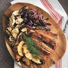 Smoked Trout Crostini with Grilled Fennel and Red Onion Photo - Easter Appetizers and Side Dishes Recipe | Epicurious.com