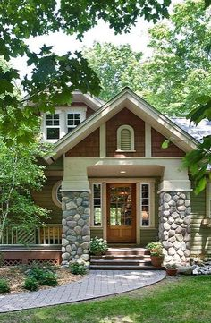 cottag, craftsman style homes, river rocks, dream homes, front doors, stone, curb appeal, hous, front porches