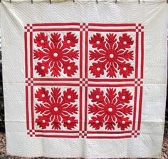 red and white Hawaiian style applique quilt, ca. 1900.  Sharon's Antiques.