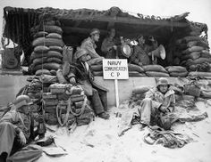 World War II History [D-Day Photo] US Navy Communications CP on the beach