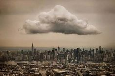 One rogue cloud hovering above Midtown Manhattan.