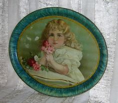 Large Lithograph Tray of Blonde Haired Girl with Roses from madgelee on Ruby Lane