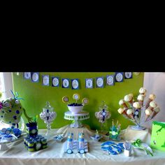 Baby shower candy station very cute!