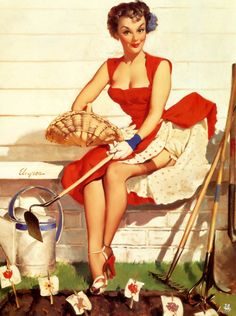 'Worth Cultivating' - pin up art by Gil Elvgren.