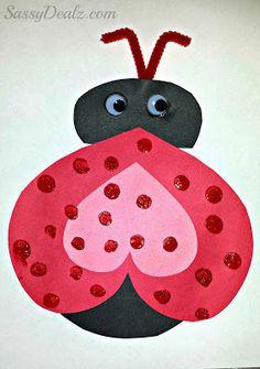 Heart Ladybug Valentines Day Craft For Kids - Sassy Dealz