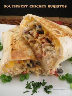 Southwest Chicken Burritos/Southwest seasoning recipe included! Oh my, these look so good! Must try on a cheat night, lol