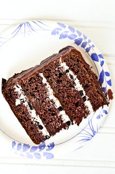 Four layer chocolate cake with oreo cream cheese filling