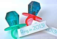 """Ring In The New Year"" - using ring pops for New Years Eve kid favors - (bloom designs)"