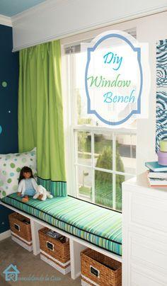 Easy DIY Window Bench window benches, idea, big girl room, playroom, windows, window seats, bedroom, diy window, girl rooms