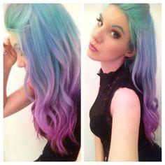 Purple blue rainbow hair