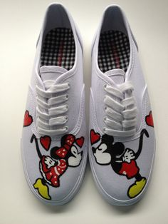 VANS VERSION - Hand Painted Mickey Mouse Minnie Mouse & Disney Shoes Womens Canvas Custom Valentines Day Love Keds Vans  - Size 8.5 In STOCK. $139.00, via Etsy.