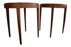 Antique Hardwood End Tables - A Pair