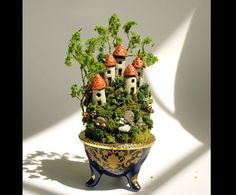 Miniature Fairy Houses on the Hill with Porcelain Vessel, Mushrooms and Trees by Bewilder and Pine