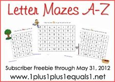 Alphabet Mazes A-Z ~ Subscriber Freebie through May 31, 2012 from www.1plus1plus1equals1.net
