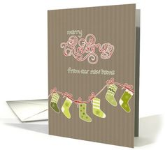 Merry Christmas from our new home, stockings, Kraft paper effect card by Barbara Screiber
