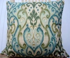 olive and aqua pillow on etsy