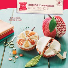 Really love this little sewing kit pattern! gift, sewing kits, purs, orang, pincushion, sew kit, stitch, appl, sewing patterns
